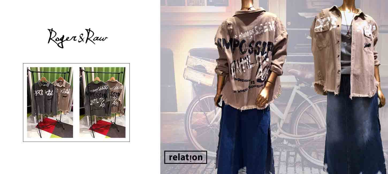 【レディス】ROGER&RAW 英文字ペイントブロークンシャツ
