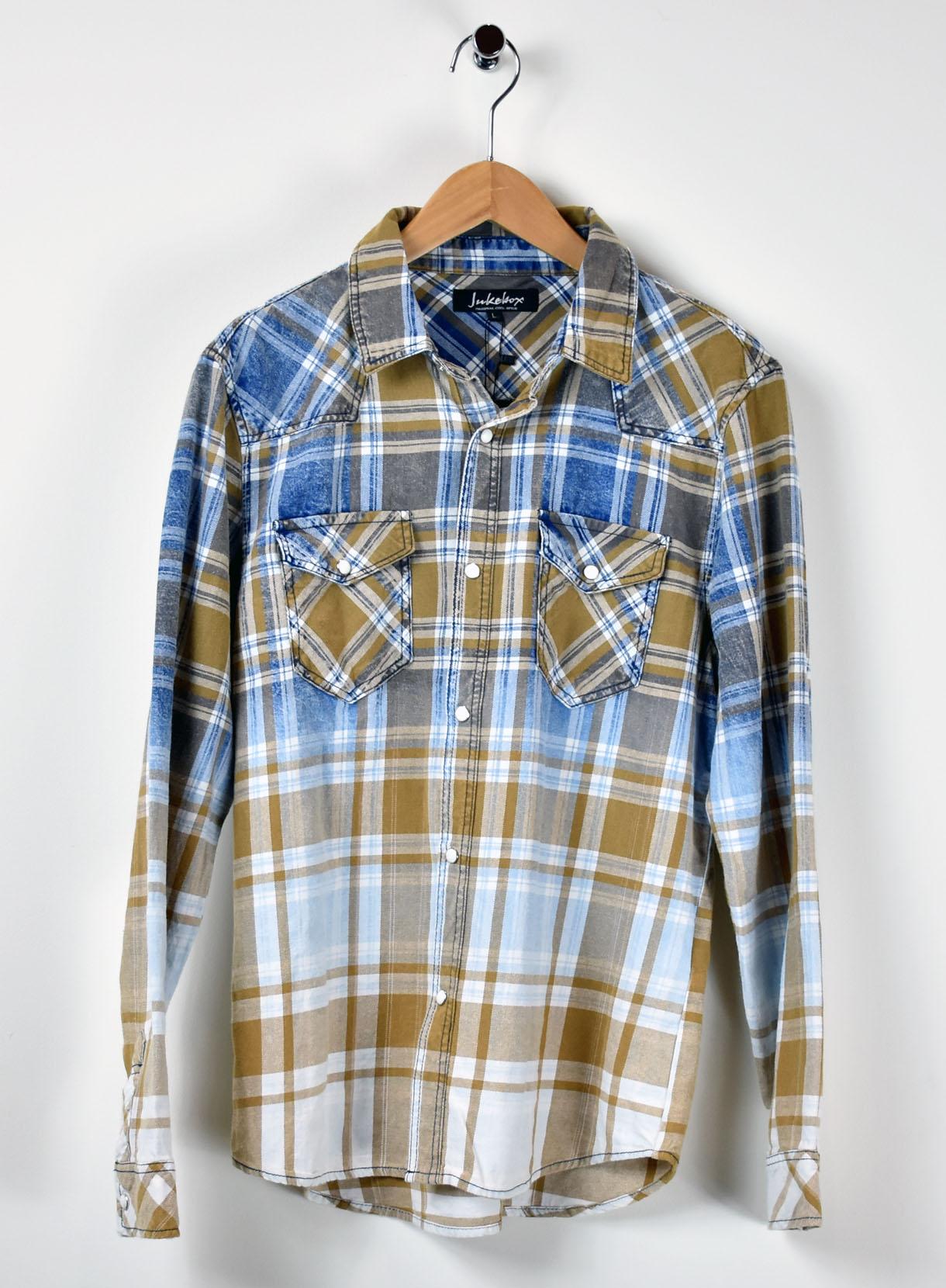 インディゴチェックシャツ×バックプリント