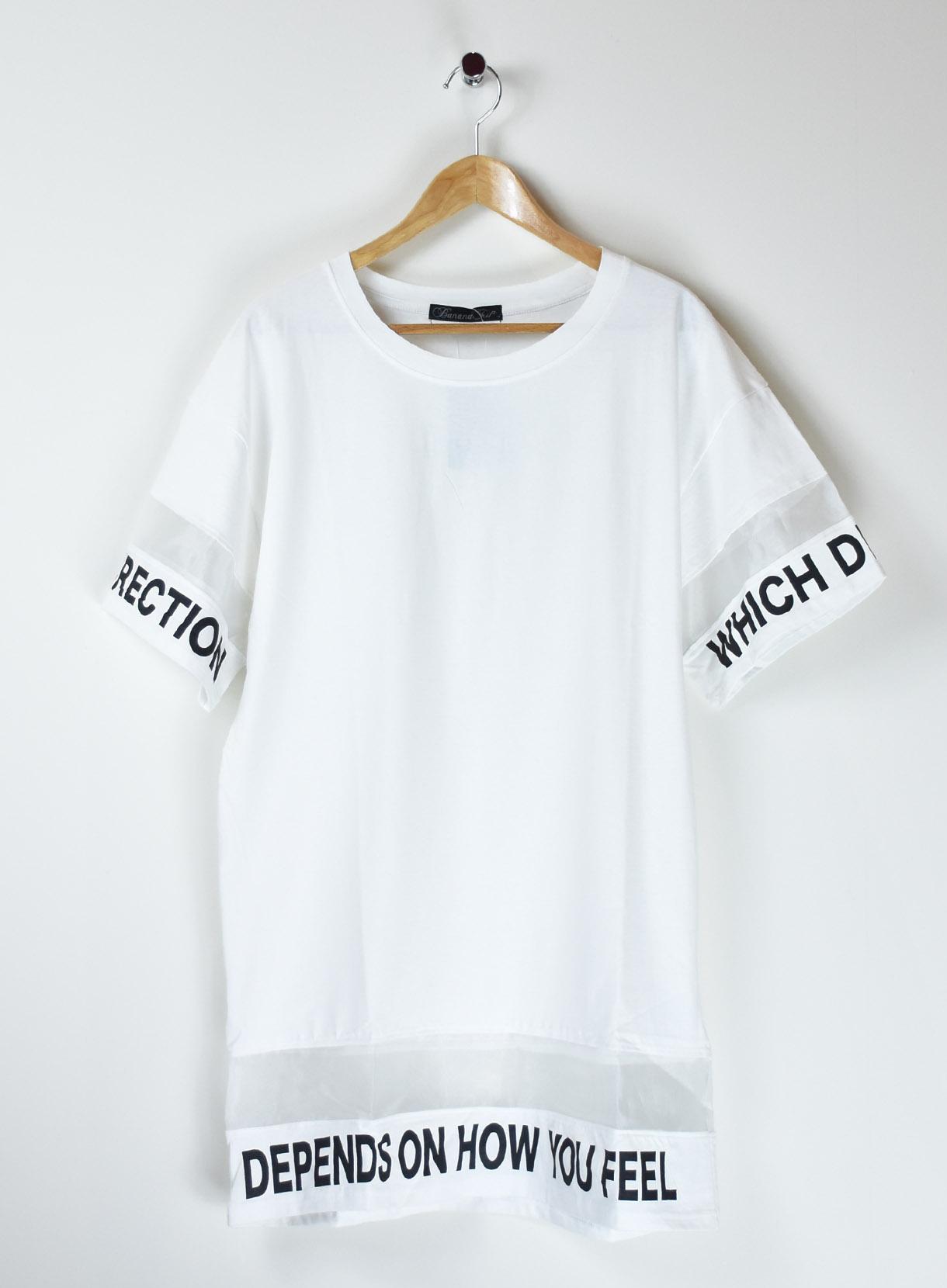 シフォン切替ロングTシャツ