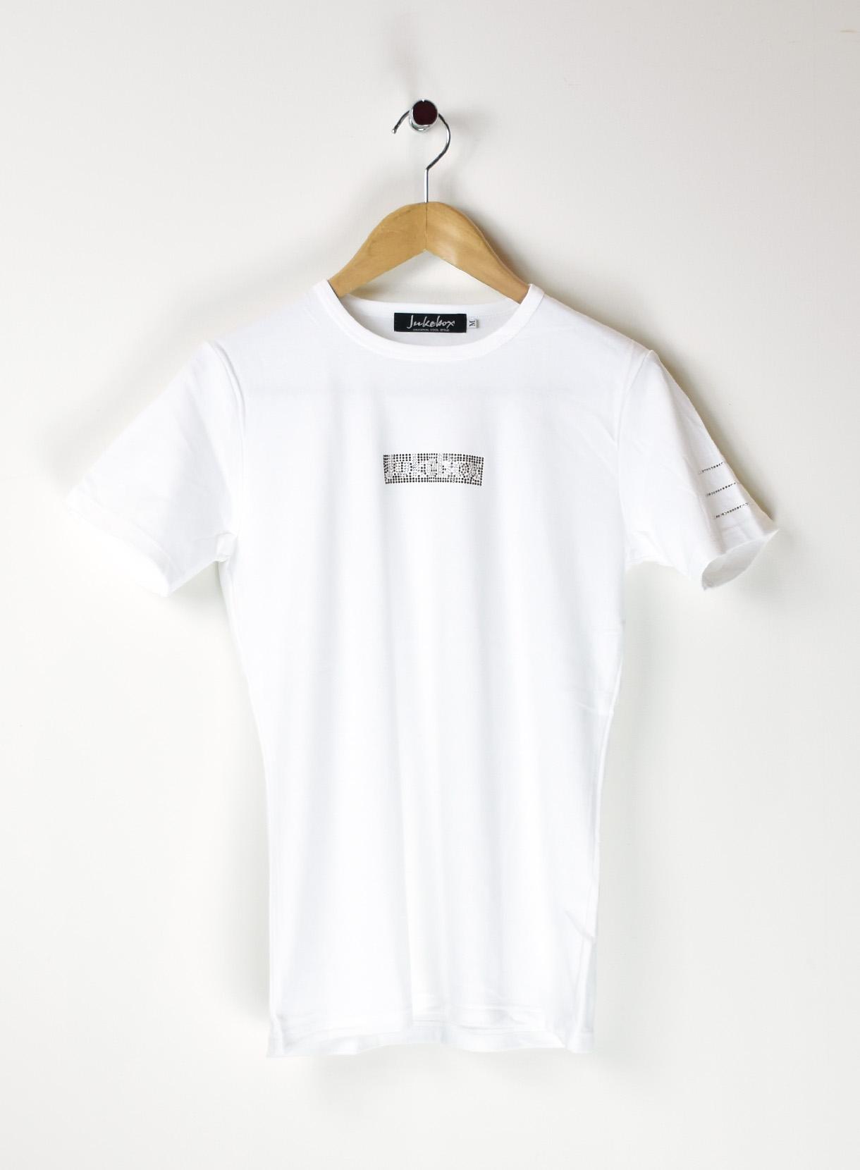 JUKEBOX SWAROVSKI Tシャツ(フロント boxロゴ②柄+肩ライン)