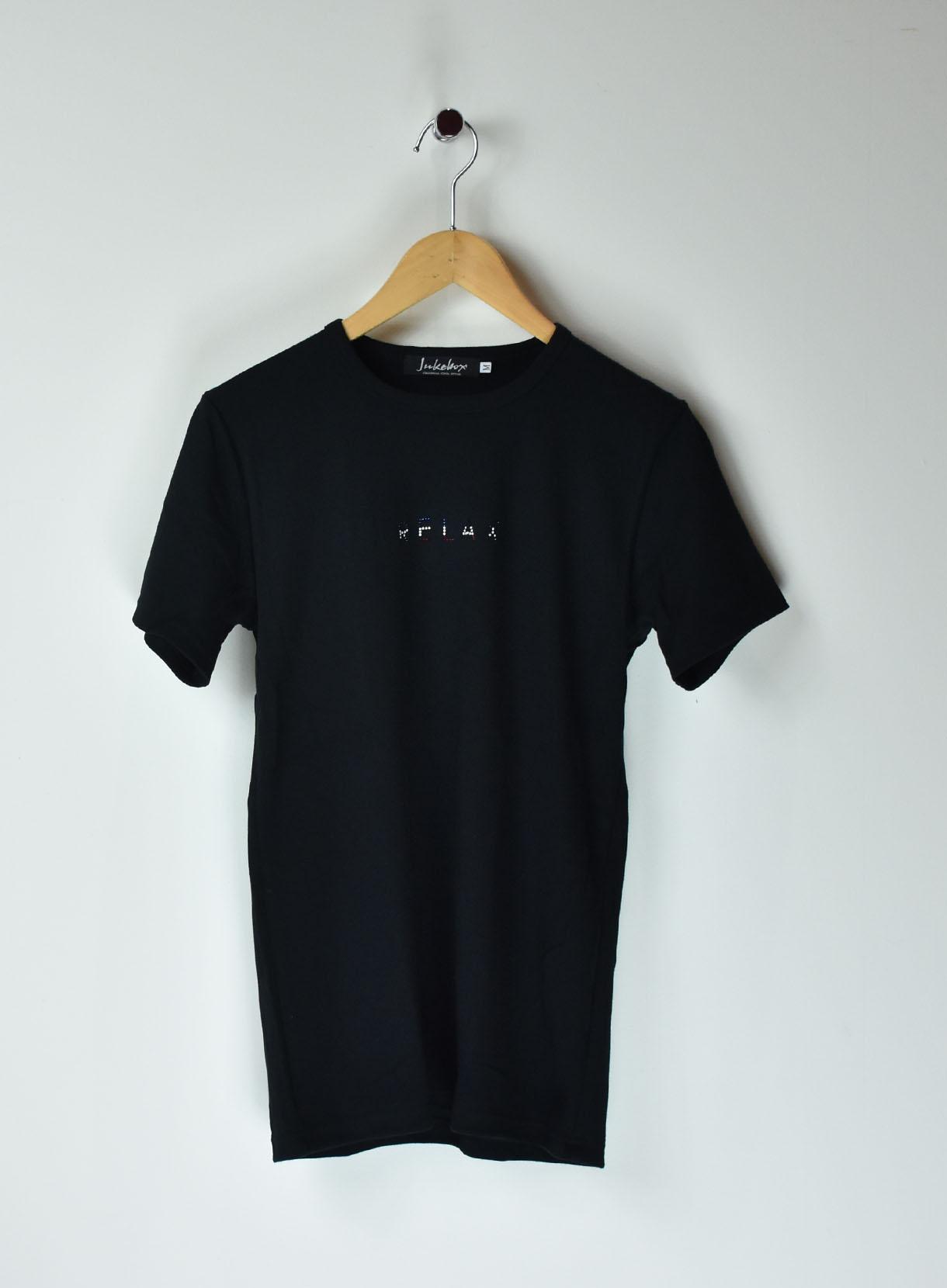 JUKEBOX SWAROVSKI Tシャツ(フロント relax Verticalトリコロール柄)