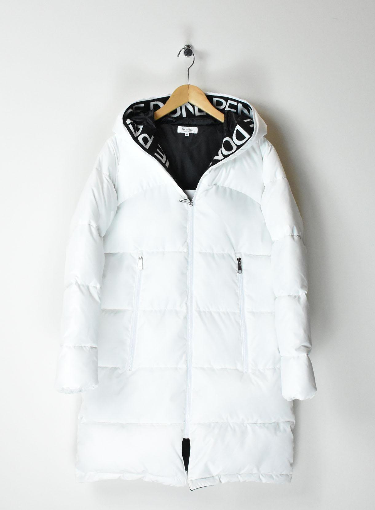 ロングロゴフード中綿コート
